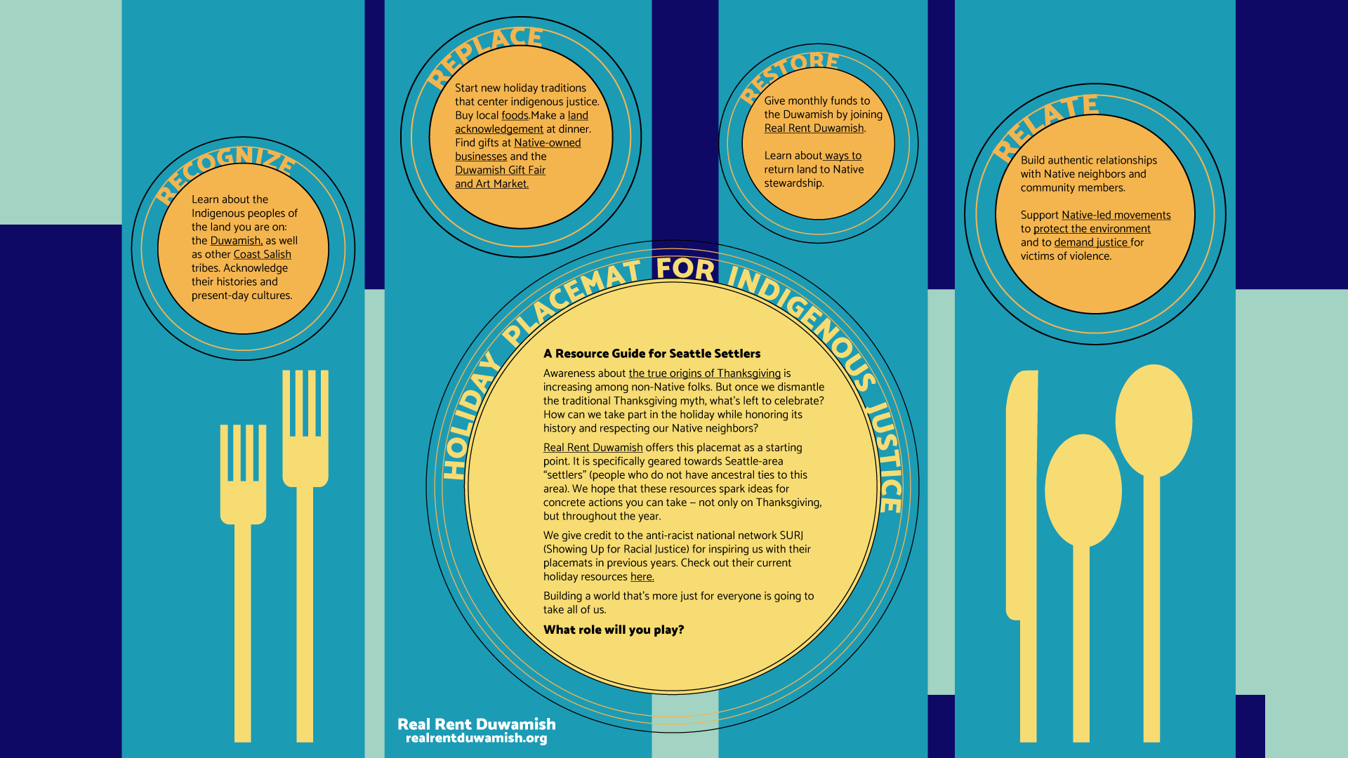 Placemat with resources for Indigenous justice