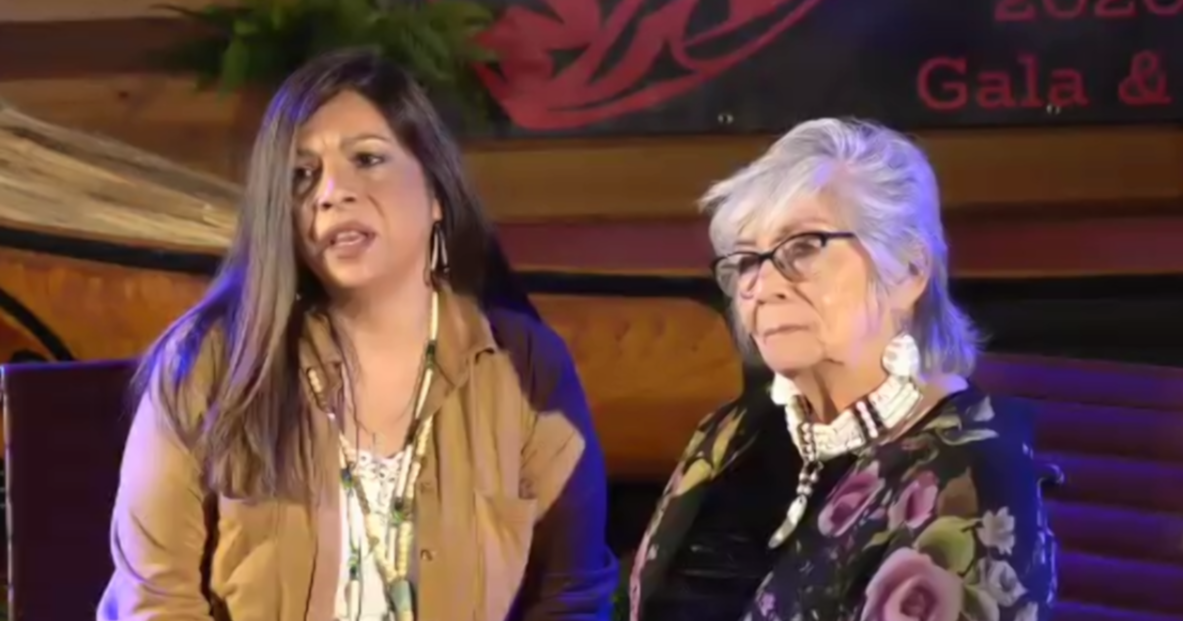 Jolene and Cecile at the live broadcast of the 2020 Duwamish Gala