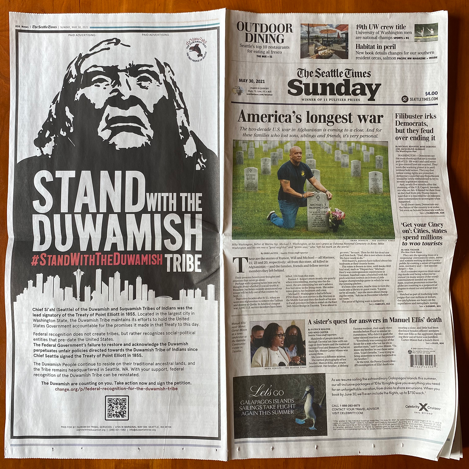 Seattle Times print ad for Duwuamish Recognition